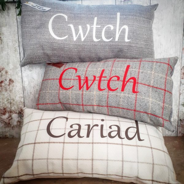 handmade personalised check cushions
