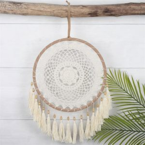 large cream dreamcatcher with tassels