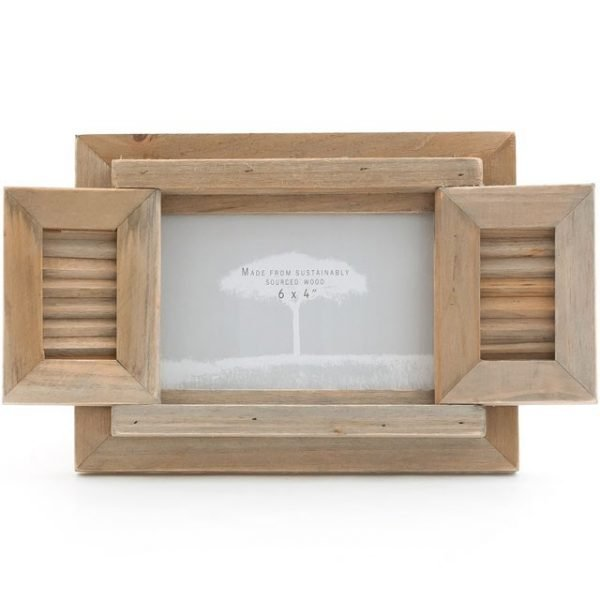 driftwood photo frame with shutters for four by six photo