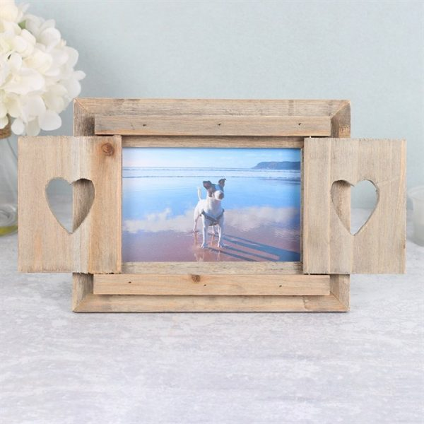 driftwood photo frame with heart shutters, six by four photo
