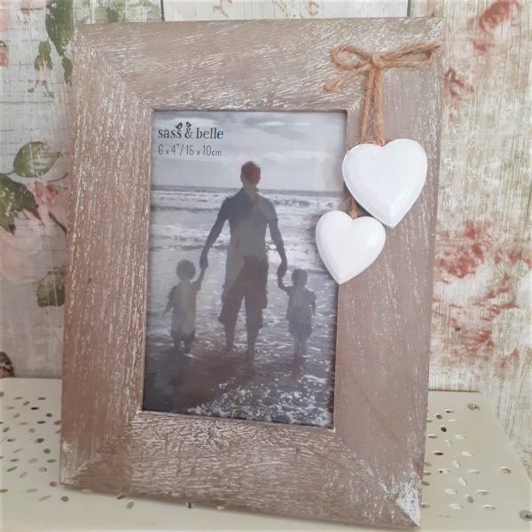 shabby chic photo frame with hanging hearts, six by four