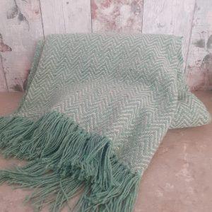 green herringbone blanket