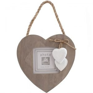 wooden hanging heart frame for three by three photo