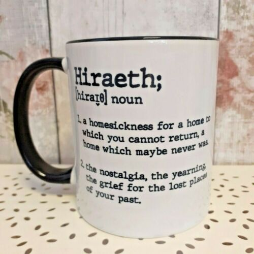 ceramic mug with a description of the welsh word hiraeth