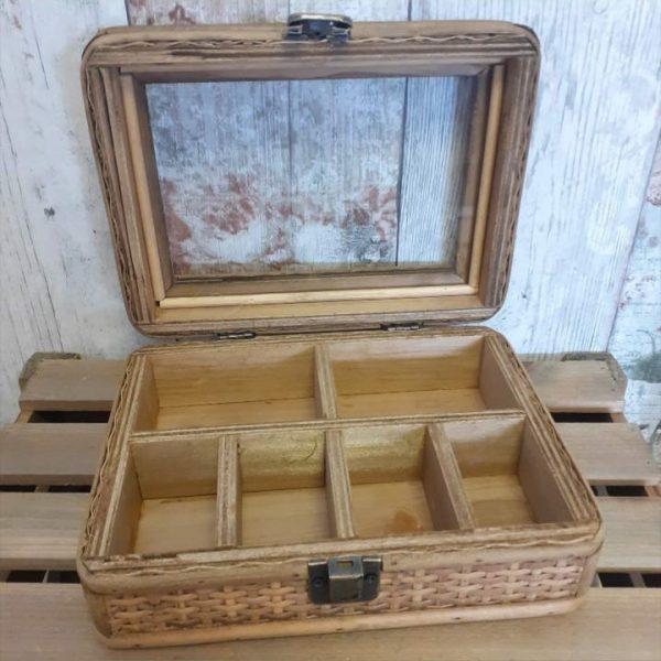 rattan jewellery box open