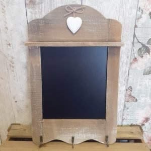wooden chalk board with hooks