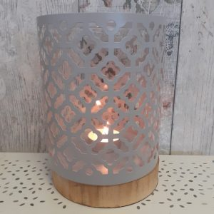 metal lantern light grey