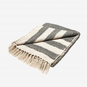 scandi blanket in black and cream with tassels