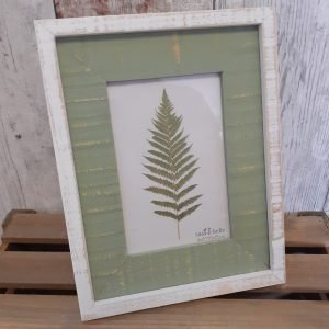 shabby chic green and white single photo frame