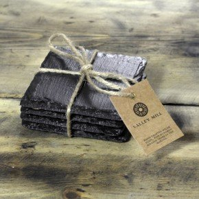 square shaped welsh slate coasters, set of 4