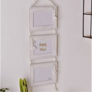 triple hanging shabby chic photo frame with beads and tassels, six by four photos