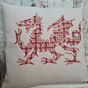 linen effect cushion printed with a welsh dragon
