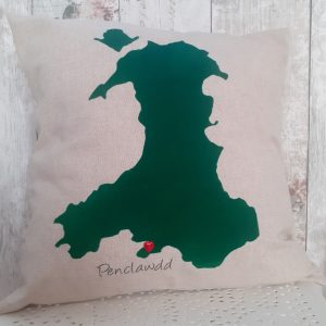 map of wales cushion with personalised location