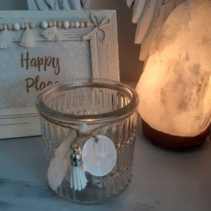 clear tealight candle holder with feather and tassel