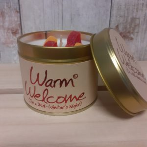 warm welcome lily flame candle