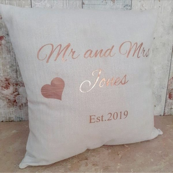 personalised wedding / anniversary cushion