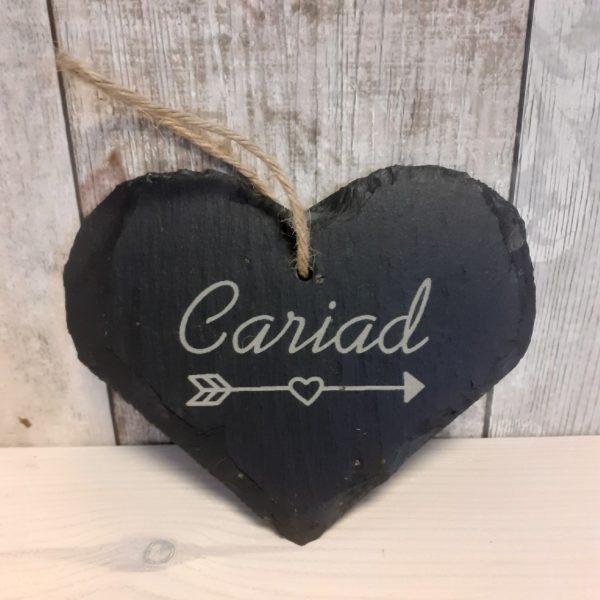 welsh slate cariad heart