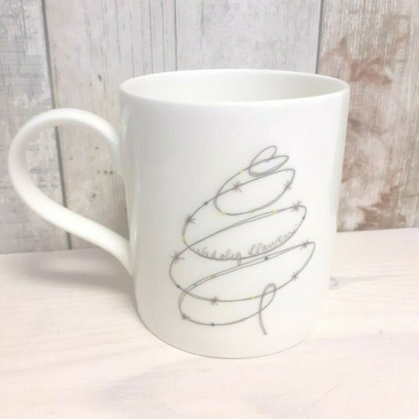 welsh china christmas tree mug nadolig llawen