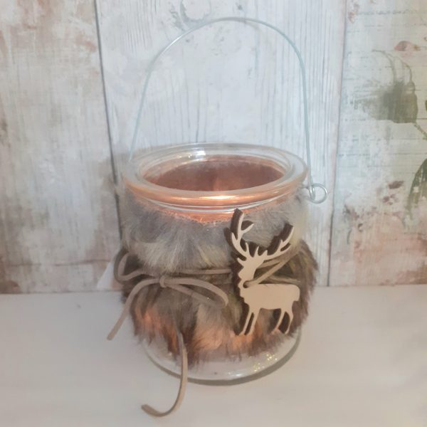 faux fur candle holder