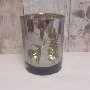 glass candle holder with christmas scene