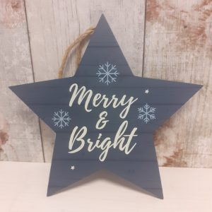 merry and bright christmas star decoration