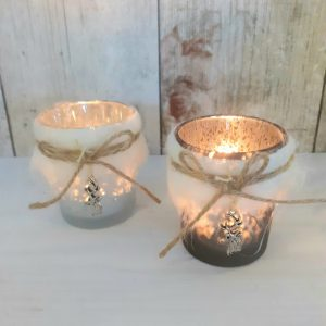 tealight candle holders with faux fur