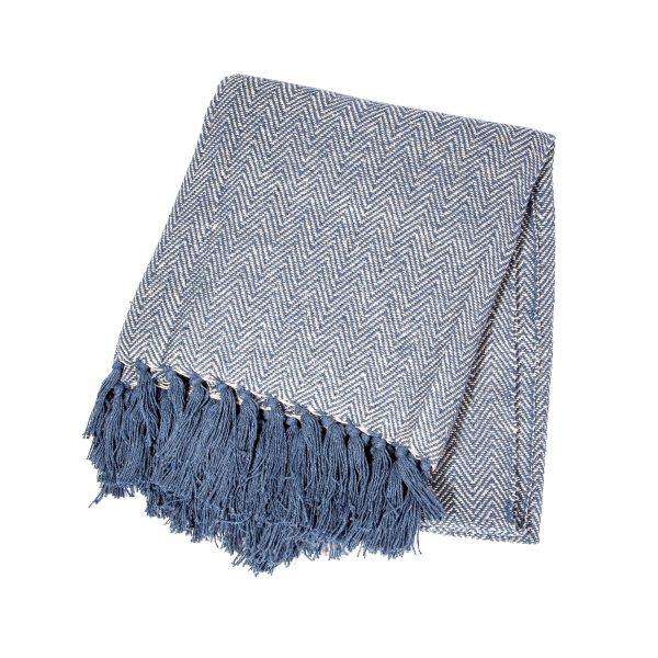 navy herringbone blanket