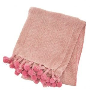 pink herringbone throw
