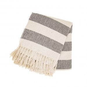 striped cream and black blanket