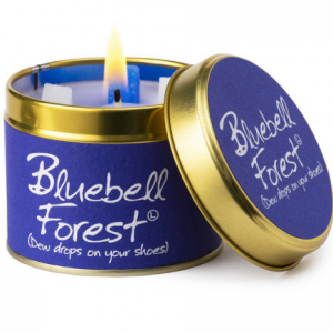 lily flame bluebell forest scented tin candle