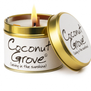 lily flame coconut grove scented tin candle