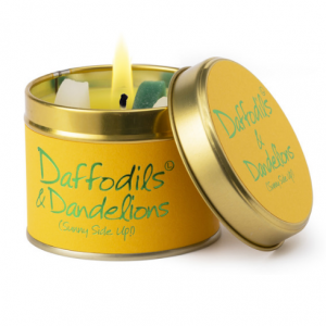 lily flame daffodils and dandelions scented tin candle