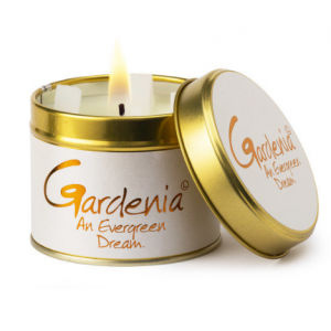 lily flame gardenia scented tin candle