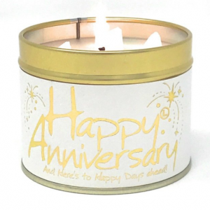 lily flame happy anniversary tin candle