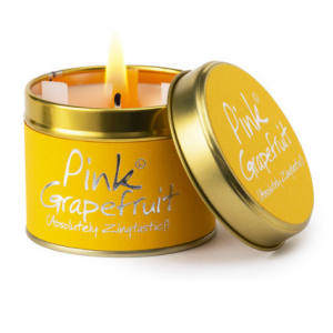 lily flame pink grapefruit scented tin candle