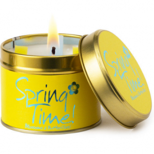 lily flame spring time scented tin candle