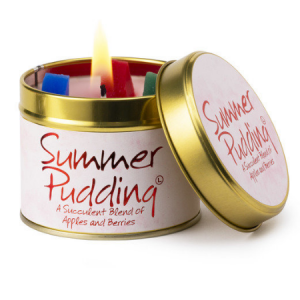 lily flame summer pudding scented tin candle