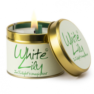 lily flame white lily scented tin candle