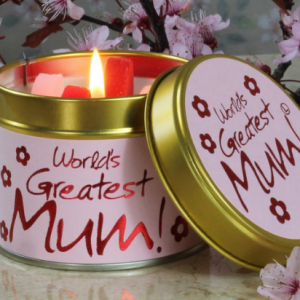 lily flame world's greatest mum tin candle