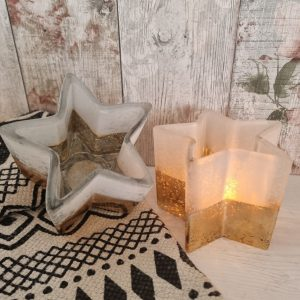 glass star shaped tealight holder