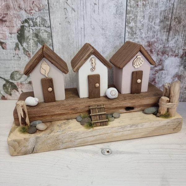 handmade driftwood beach huts ornament