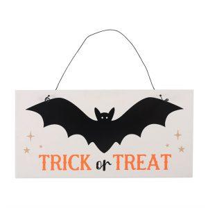 trick or treat bat hanging sign