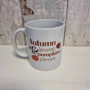 autumn leaves and pumpkins please ceramic mug