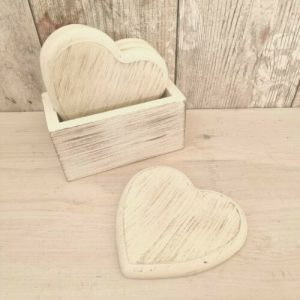 set of 4 white heart coasters in holder