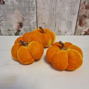 mini orange velvet pumpkins