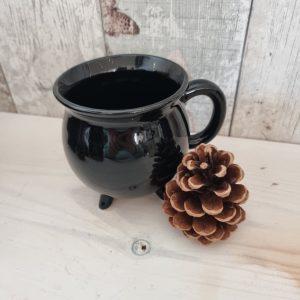 plain black cauldron shaped mug