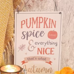 pumpkin spice and all things nice hanging sign