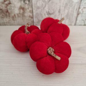 set of three small red velvet pumpkins