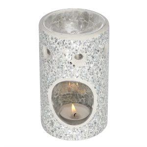 silver crackle effect fragrance burner